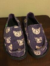 SANUK Girls Slip On Loafer Shoes Size 13 Cat Floral Purple NWOB!