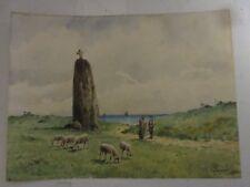 Charmante Aquarelle Bretonne?, calvaire/moutons, signée VISSUAC