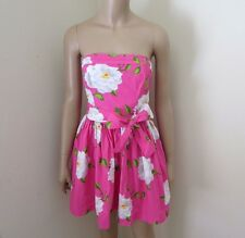 Abercrombie Womens Floral Strapless Dress Size Large Pink & White