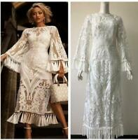 Runway Womens Vintage Tassel Long Sleeve Occident Long Dress Lace Sexy Hollow 19