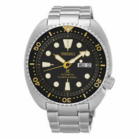 "Seiko Prospex ""Turtle"" Automatic Diver 200M Black Yellow Dial SRP775 Mens Watch"
