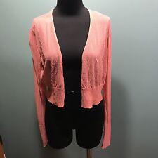 Eileen Fisher Peach Coral Viscose Nylon Sheer Cropped Shrug Cardigan Sweater M