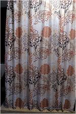 Set Retro Orange Brown Flower Leaf Bath Bathroom Fabric Shower Curtain w/ Rings