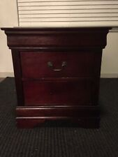 Cherry Nightstand Wood Bedside End Table Bedroom Accent Modern Storage 2 Drawers