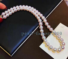 AAAA+ round real 9-8 mm NATURAL Akoya  White akoya pearl necklace 14K GOLD