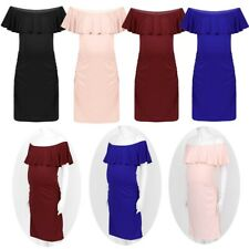 Maternity Women Ruffle Dress Off Shoulder Ladies Party Baby Shower Solid Clothes