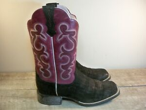 Women's Ariat #10014171 Quickdraw Black & Purple Leather Cowboy Boots Size 9 B