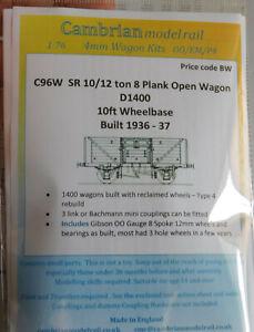 CAMBRIAN C96W KIT 10/12/  SR 8 PLANK OPEN WAGON D1400 NEW OO gauge
