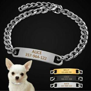Small Dog Choke Chain Collars & ID Tag Pet Show Collar Slip Training Chihuahua