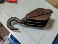 Large Vintage industrial block and tackle shackle hoist lifting hook pulley