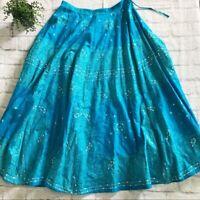 Soft Surroundings blue sequined full skirt SP boho maxi