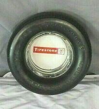 "70'S FIRESTONE RADIAL 721 ADVERTISING RUBBER TIRE 6"" GLASS ASHTRAY TOBACCIANA"