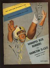 8-31 1961 Canadian Football League Program Winnipeg Blue Bombers vs Hamilton