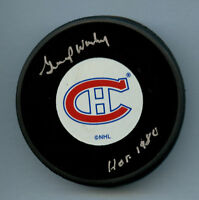 Gump Worsley (d 2007) signed autograph auto Official NHL Montreal Canadiens Puck