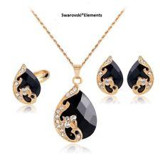 Boucles d'oreilles collier pendentif bague ovale  Swarovski®Elements noir doré