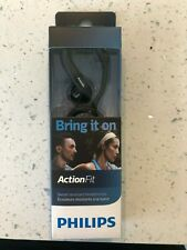 Philips Action Fit Headphones SHQ1250TBK Brand New in Box- Sweat Resistant-Black