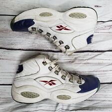 OG Reebok Allen Iverson Question Mid Mens Shoes Size 9 White/Pearlized Navy-Red