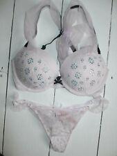 Victoria's Secret dream angel fashion show pink push up padded bra 32dd thong M