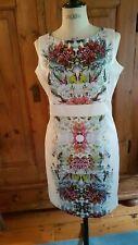 Karen MILLEN Size 12 White Pink DRESS