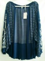 Free People Womens Indigo Dreams Tunic Top Navy Floral Embroidered Layered S New