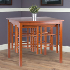 5-Piece Dining Set Solid Wood 1 Table 4 Stools Space Saver Apartment Furniture