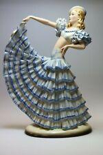 Goldscheider Wien Keramik Tänzerin im blauen Kleid MDN.:8453 32 cm hoch