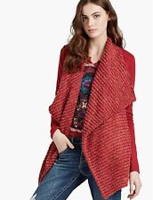 LUCKY BRAND Womens Red Metallic Mixed Cotton Cardigan Sweater Wrap Jacket NWT XL
