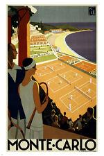 monte carlo vintage travel poster 24X36 TENNIS TOURNAMENT sports UNIQUE