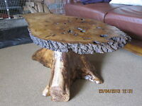 HAND MADE RUSTIC TREE ROOT BARK BESPOKE COFFEE TABLE made to measure