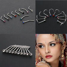 10PCS Surgical Steel Thin Gem Crystal Screw Nose Stud Ring  Piercing Jewelry New