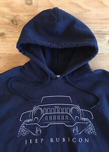 JEEP Rubicon Sweatshirt Hoodie Men's Small Blue