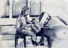 PIANO PLAYER original art life drawing portrait music artist Frederic BELAUBRE