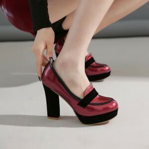 Womens Round Toe Platform Dress OL Pumps Slip On Plus Size High Heel Party Shoes