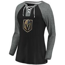 Женские Вегас золотой рыцари НХЛ вырываться реглан футболка с длинным рукавом, черный/серый