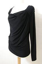 T TAHARI Black Long Sleeve Ruched Draped Top L