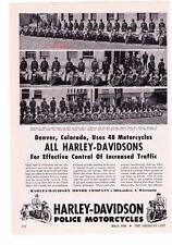 """1948 Vintage Harley Davidson Police Motorcycles """"Denver, Colorado"""" Print Ad"""