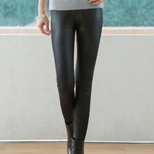 Femme Leggings en cuir noir Pantalon skinny stretch extensible