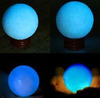 NEW SINGLE HANDMADE MOON STONE 25mm GLASS GLOW IN THE DARK MARBLE YELLOW HOM
