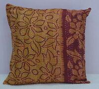 Indian Kantha Work Cushion Cover Patchwork Silk Pillow Case Throw Decorative Art