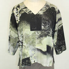 NEW NWT Citron Clothing Plus Size Floral V-Neck 100% Silk Fukure Tunic Blouse 2X