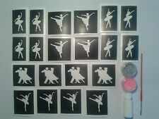 Dance themed glitter tattoo set incl. stencils + glitter + glue dancer ballet
