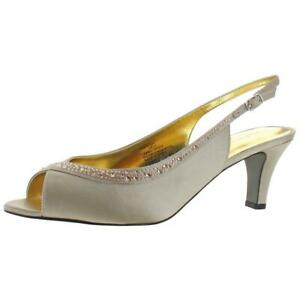 David Tate Womens Dainty Beige Slingback Heels Shoes 9 Narrow (AA,N)  5527