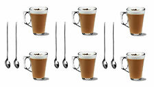 6 LATTE COFFEE CAPPUCCINO GLASSES 240ml MUGS HOT DRINK CUPS + 6 FREE SPOONS
