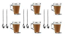 6 LATTE caffè Cappuccino Occhiali TAZZE 250ml HOT DRINK TAZZE + 6 cucchiaini da libera
