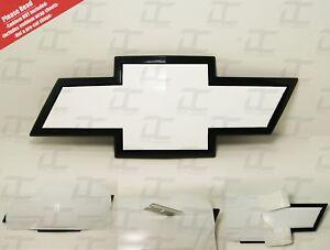 (2) Silverado Gloss White Universal Chevy Bowtie Vinyl Sheets Emblem Decal