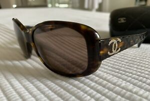 Genuine CHANEL Sunglasses Quilted Tortoise Shell Brown Gold CC +Case 714/3G 5189