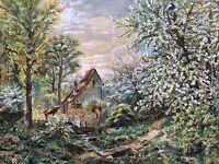 Landschaft mit Baumblüte Frühling 1896 E. Daubner Jugendstil Enten 73x93 Antik