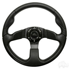 GOLF CART STEERING WHEEL BLACK/BLACK SPOKES W/ADAPTER YAMAHA G2-DRIVE(R)