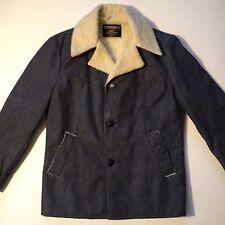 "Vintage 1970s Sears Western Wear Denim Sherpa Coat Jacket NOS Men's Medium 46"""