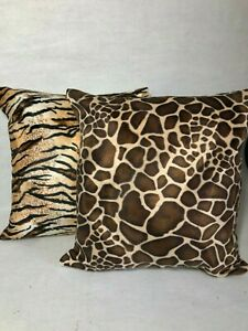 "16""/18""/20"" Square Cushion Cover in TIGER OR GIRAFFE Print Luxurious Faux Fur"